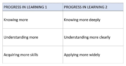 progress in learning table